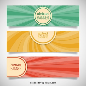Abstract banners with stripes in vintage style