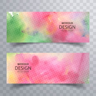 Abstract banners with watercolors