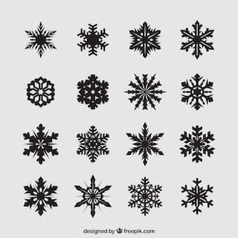 Abstract black snowflakes