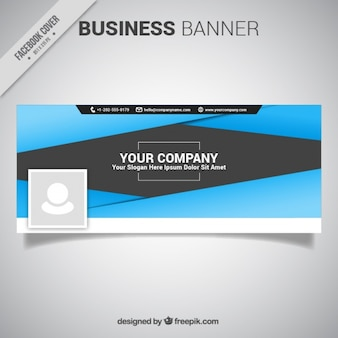 Abstract blue and gray facebook cover template