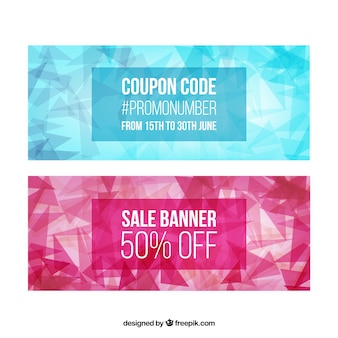 Abstract blue and pink discount banners