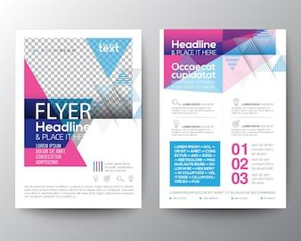 抽象的な青とピンクの幾何学的なパンフレットのテンプレート
