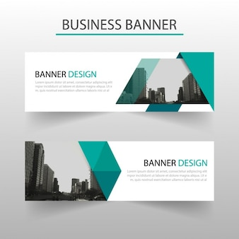 Abstract blue banner with geometric shapes