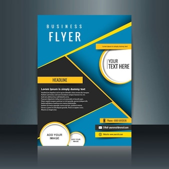 Abstract blue business brochure with yellow details