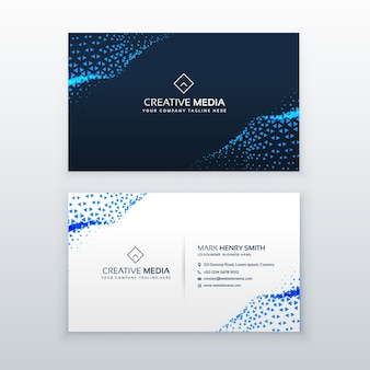 Abstract blue business card design with triangles