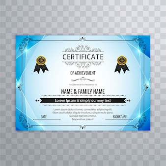 Abstract blue certificate design