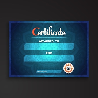 Abstract blue certificate template