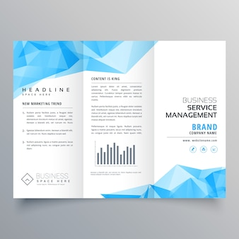 Abstract blue trifold business brochure template