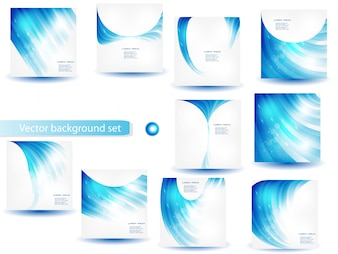 Abstract Blue Vector Template and Set