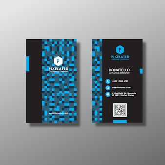 Abstract blue vertical business card