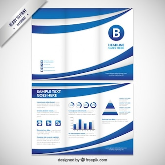 Abstract blue waves tri fold brochure