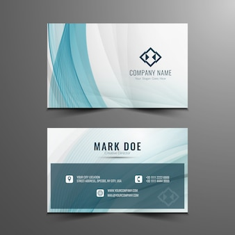 Abstract blue wavy business card design