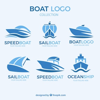 Abstract boat logo collection