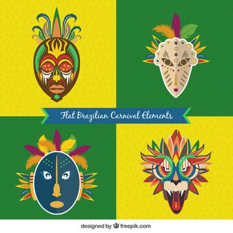 Abstract brazilian carnival masks