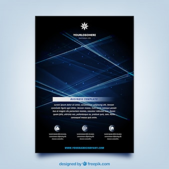 Abstract brochure template with shiny blue lines