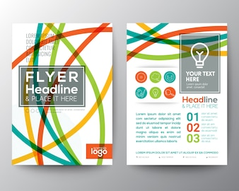Abstract brochure with full color lines