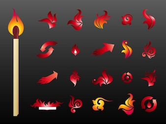 abstract burning Fire logos vector