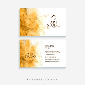 Abstract business card in watercolor style