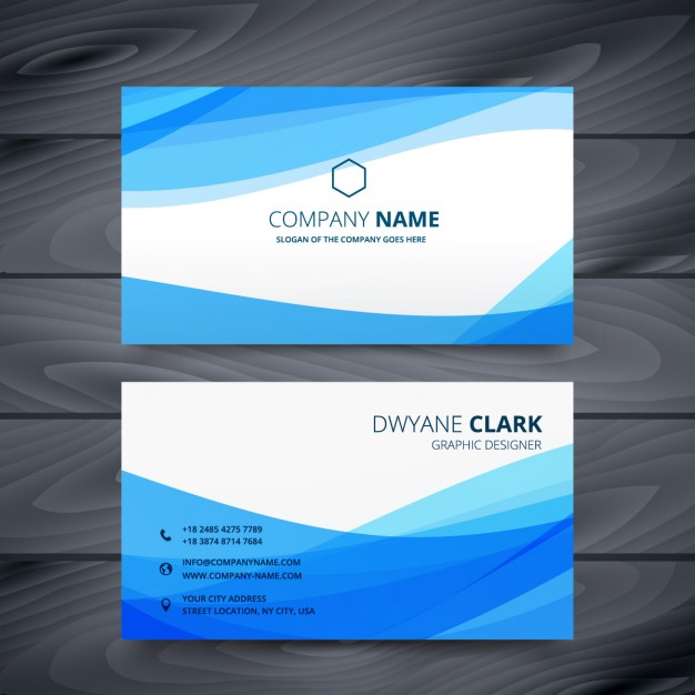 Abstract business card with blue waves