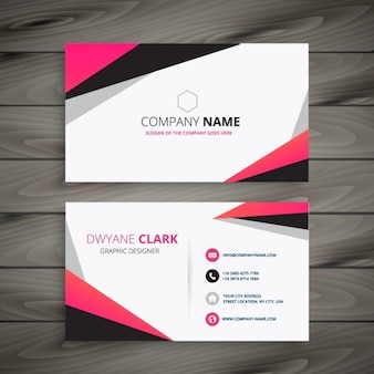 Abstract business card with color pink and grey