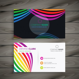 Abstract business card with colorful waves