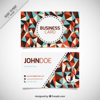 Abstract business card with flat triangles