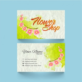 Abstract business card with pink flowers