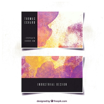 Abstract business card with watercolor stains