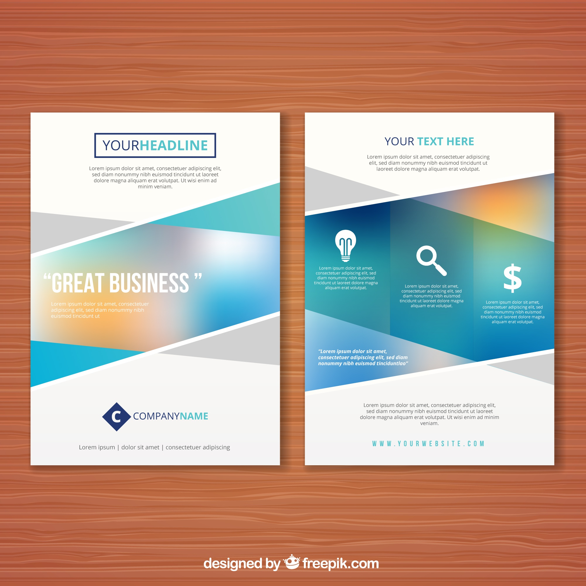 Abstract business flyer with blurred effect