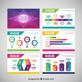 Abstract business presentation with colored charts
