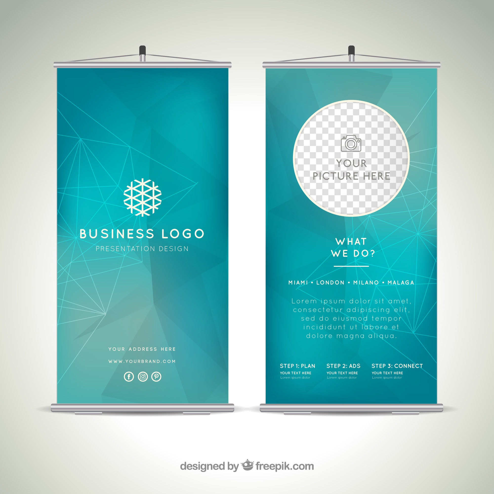 Abstract business roll up template