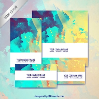Abstract business stationary in watercolor style