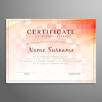 Abstract certificate design with tiles