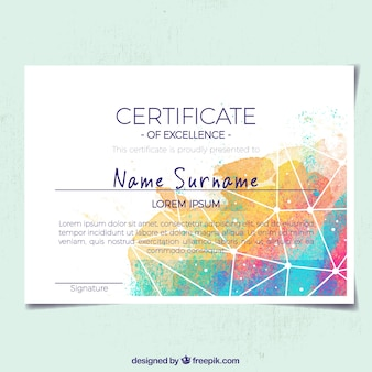 Abstract certificate of appreciation with colored shapes