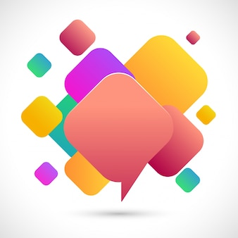 Abstract Chat Bubble on colorful squares background.