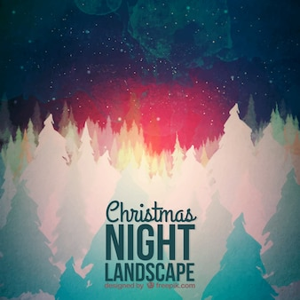 Abstract christmas night landscape background