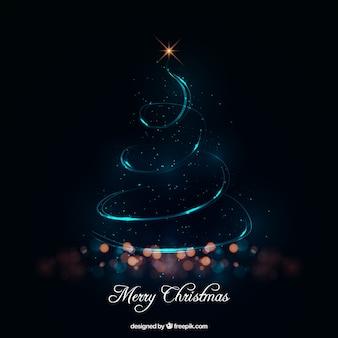 Abstract christmas tree made of lights