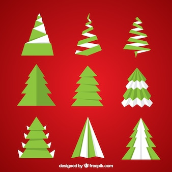 Abstract christmas trees in flat design
