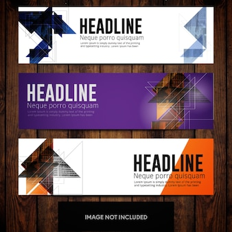 Abstract cityview business banner designs with multicolored triangles