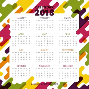 Abstract color calendar 2018