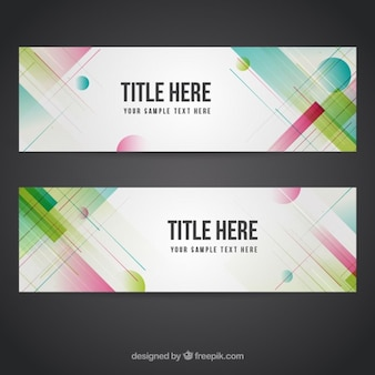 Abstract colored shapes banners