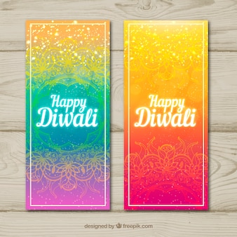Abstract colorful diwali banners