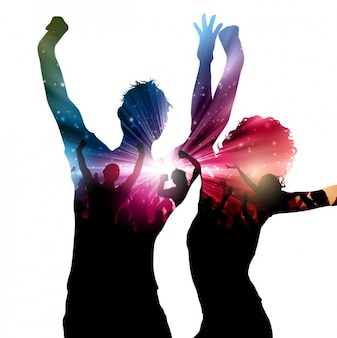 Abstract colorful party silhouettes