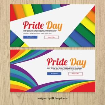 Abstract colorful pride day banners