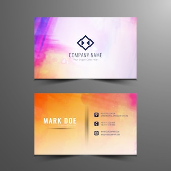 Abstract colorful watercolor business card design