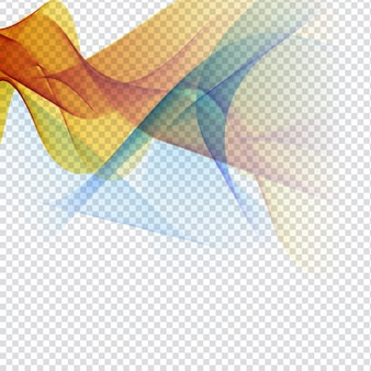 Abstract colorful waves on transparent background