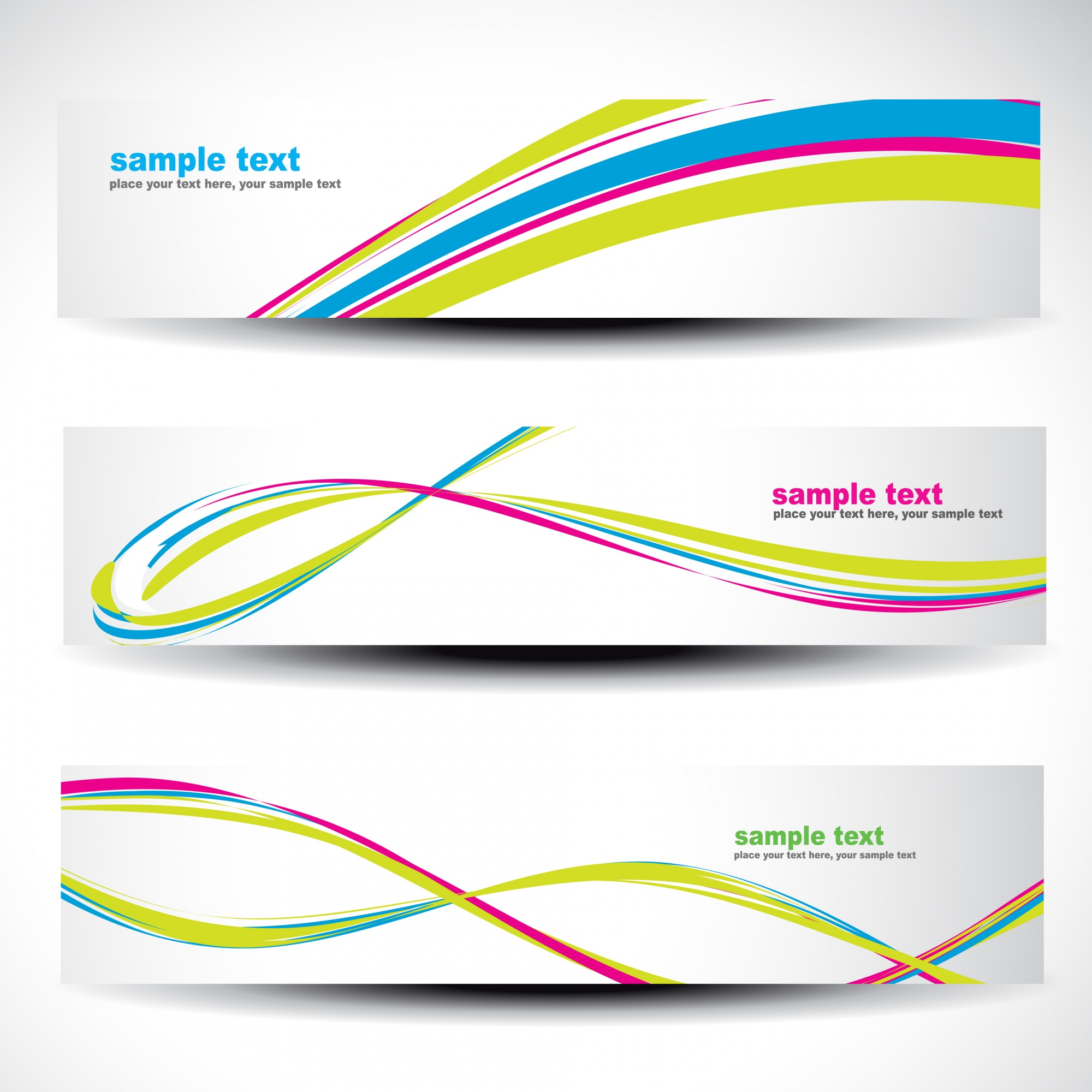 Abstract colorful wavy banners