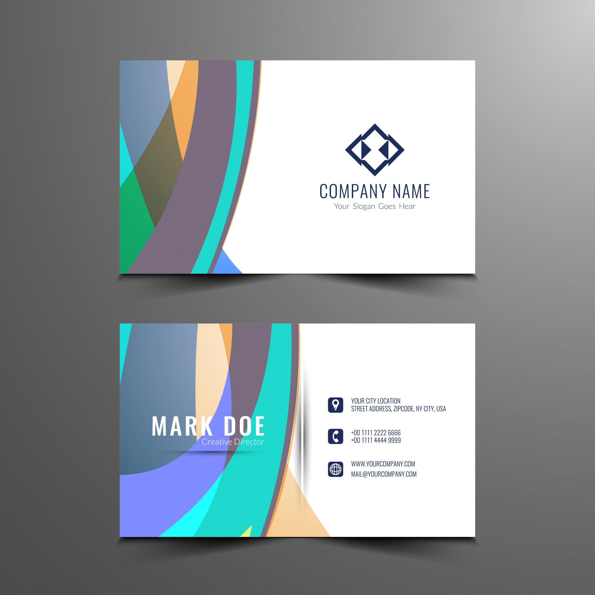 Abstract colorful wavy business card design