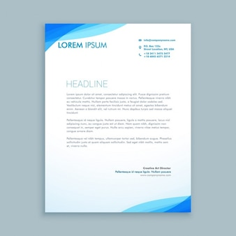 Abstract corporate blue wave letterhead
