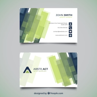 Abstract corporate card with green and blue shapes